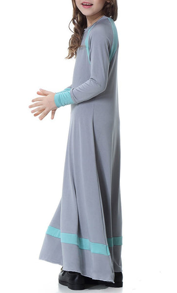Contrast Style Full Sleeves Girls Abaya (Gray)-*Size Up* - EastEssence.com