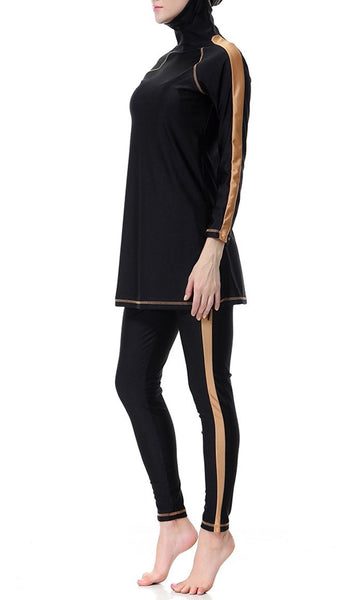 Contrast Tape Swimwear Burkini (Black) - EastEssence.com