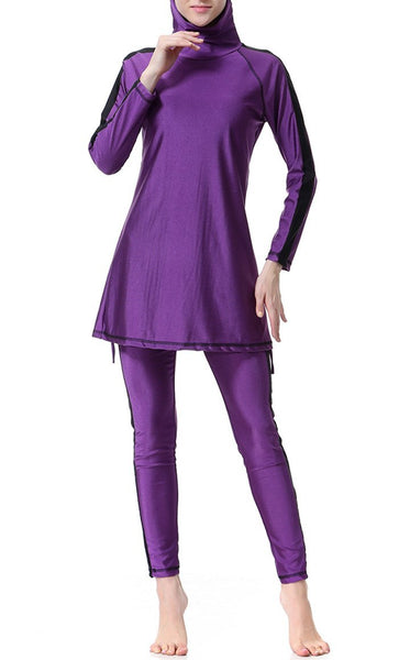 Contrast Tape Swimwear Burkini (Purple) - EastEssence.com