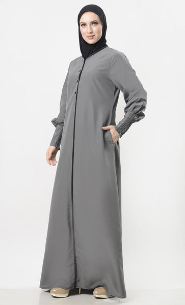 Contrast Taping Chic Everyday Abaya - EastEssence.com
