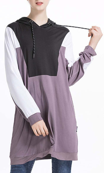 Contrast Yoke Hooded Tunic - *Size Up* - EastEssence.com