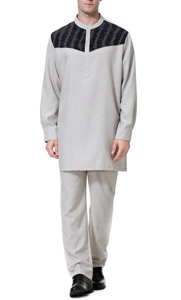 Contrast Yoke Men's Short Kurta Set (Gray)-*Size Up* - EastEssence.com