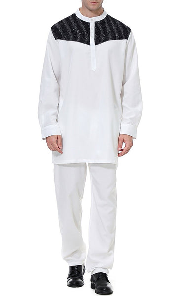 Contrast Yoke Men's Short Kurta Set (White)-*Size Up* - EastEssence.com