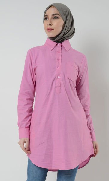 Cotton Button School Uniform Tunic for Women - White - EastEssence.com