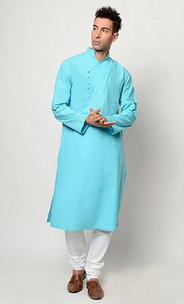 Cotton plain long Kurta pajama set - EastEssence.com