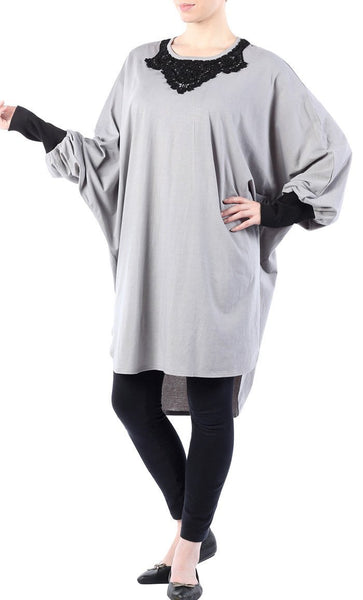 Cotton tunic with bat shaped sleeves - EastEssence.com