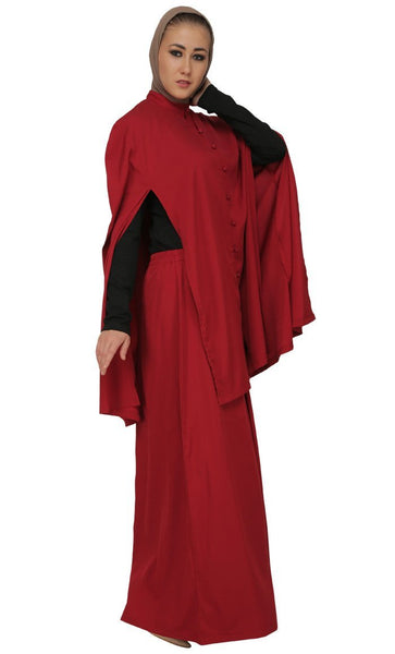 Covered And Modest Wear Tee Shirt, Topwear And Asymmetrical Skirt Three Piece Abaya Set - EastEssence.com
