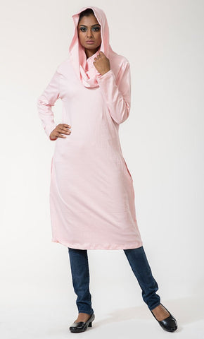 Cowl Hooded Classic Cotton Tunic Top - EastEssence.com