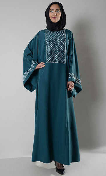 Criss Cross Detail Bell Sleeves Abaya Dress - EastEssence.com