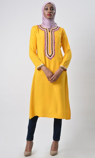 Criss Cross Embroidered Kurta Tunic - EastEssence.com