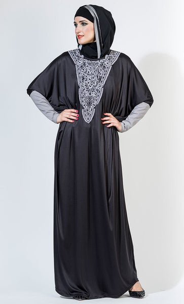 Crochet lace embroidered kaftan style abaya dress - EastEssence.com