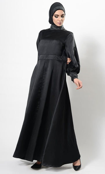 Crystal Embellished Bishop Sleeves Abaya Dress And Hijab Set - EastEssence.com