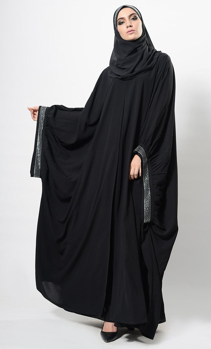 Eastessence Presents Crystal Embellished Cape Style Abaya Dress And Hijab Set Available Only At Eastessence Com