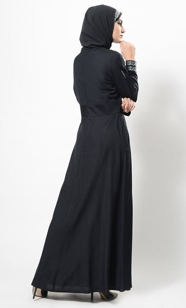 Crystal Embellished Elegant Abaya Dress And Hijab Set - EastEssence.com