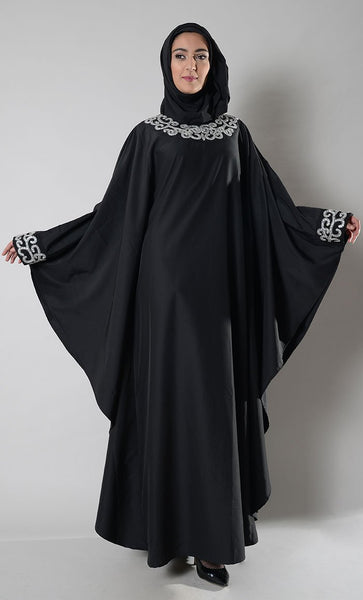 Crystal embellished kaftan abaya dress - EastEssence.com