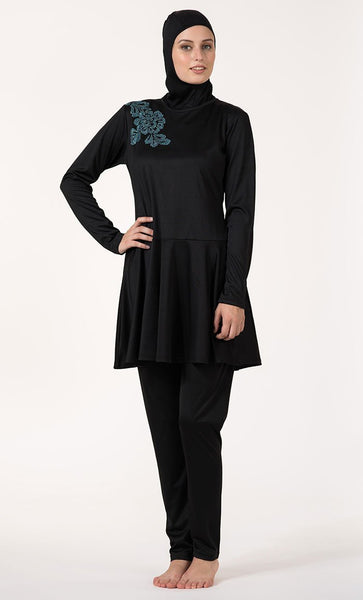 Crystal Embroidered Flower Motif Frock Style Swimwear Burkini Three Piece Set - EastEssence.com