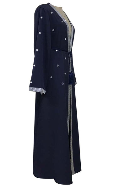 Crystal Sparkle Lace Stitched Bisht-Navy - *Size Up* - EastEssence.com