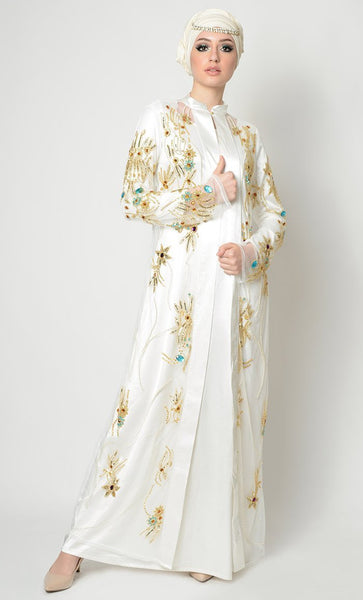 Crystals, Beads And Thread Applique Work Graceful Abaya Dress - EastEssence.com