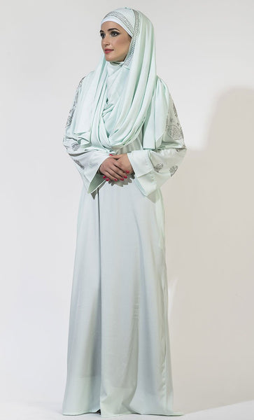Crystals embellished shoulders and sleeves Abaya dress - EastEssence.com