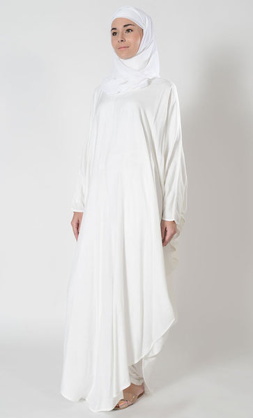 Curved hemline loose hajj kaftan style abaya dress - EastEssence.com