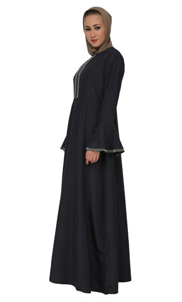 Cutdana Embroidered Bell Sleeves Abaya Dress - EastEssence.com