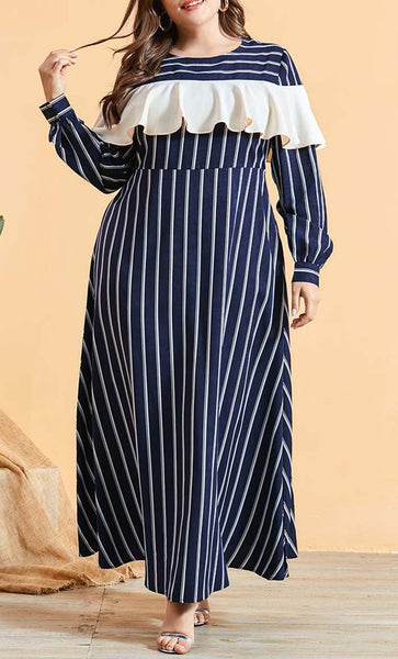 Cute Frill Plus Size Basic Abaya - *Size Up* - EastEssence.com