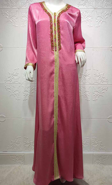 Dark Pink Delicate Evening Abaya With Glimming Details- *Size Up* - EastEssence.com
