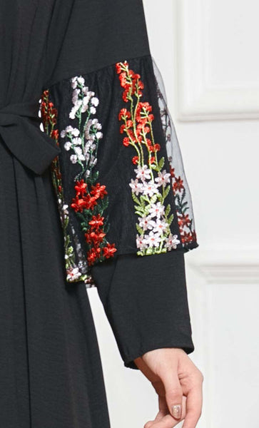 Delicate Embroidered Paneled Abaya-Black - *Size Up* - EastEssence.com