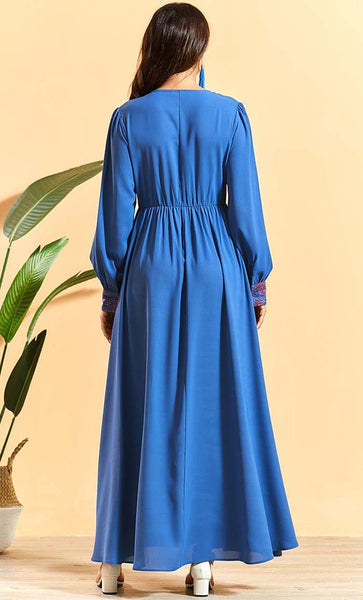 Delicate Floral Embroidered Flare Abaya - *Size Up* - EastEssence.com