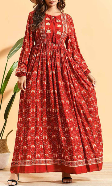 Delicate Flower Printed Abaya-Red - *Size Up* - EastEssence.com