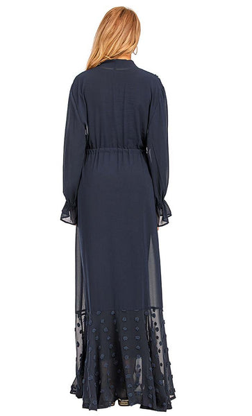 Delicate Flower Sheer Layer Shrug - *Size Up* (Navy) - EastEssence.com