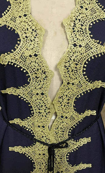 Delicate Gold Lace Stitched Bisht-Black - *Size Up* - EastEssence.com