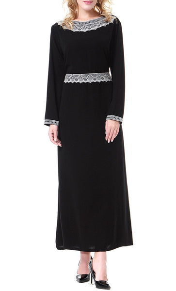 Delicate Lace Work Casual Abaya Dress - EastEssence.com
