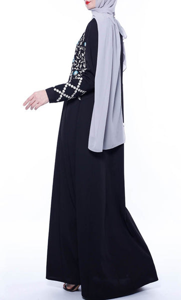 Delicate Thread Embroidered Abaya - Black - *Size Up* - EastEssence.com