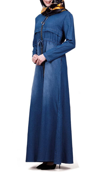 Denim Drawstring Regular Abaya-Navy - *Size Up* - EastEssence.com
