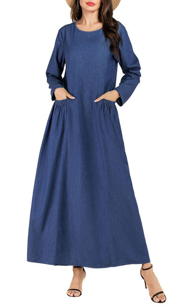 Denim Everyday Abaya Dress (Blue) - *Size Up* - EastEssence.com