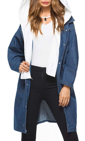 Detachable Hood Denim Jacket-Dark Blue - EastEssence.com