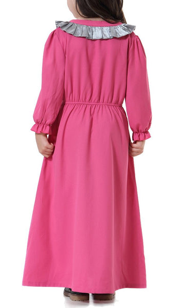 Detailed Yoke Girls Abaya (Rose Red)-*Size Up* - EastEssence.com