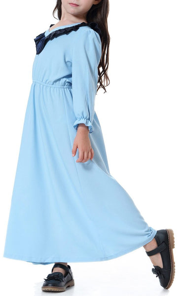 Detailed Yoke Girls Abaya (Sky Blue)-*Size Up* - EastEssence.com