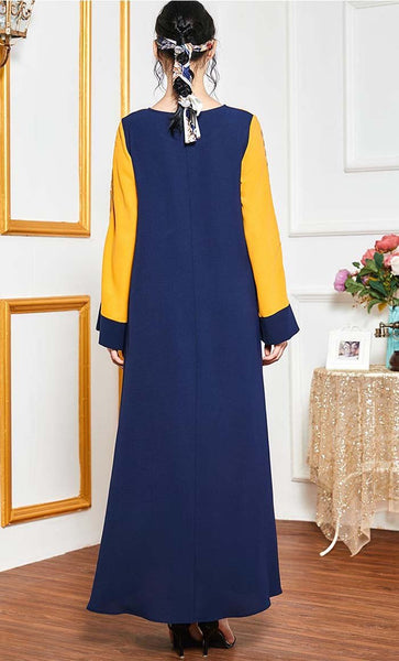 Double Contrast Abaya With Embroidery-Navy - *Size Up* - EastEssence.com