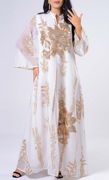 Double layer Embroidered Evening Wear Abaya- *Size Up* - EastEssence.com