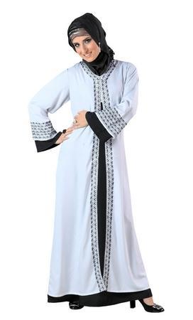 Double layered and traditionally embroidered abaya dress