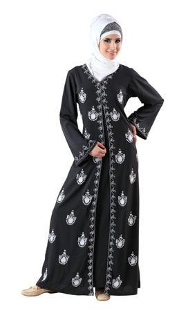 Double Layered And Traditionally Embroidered Abaya Dress - EastEssence.com