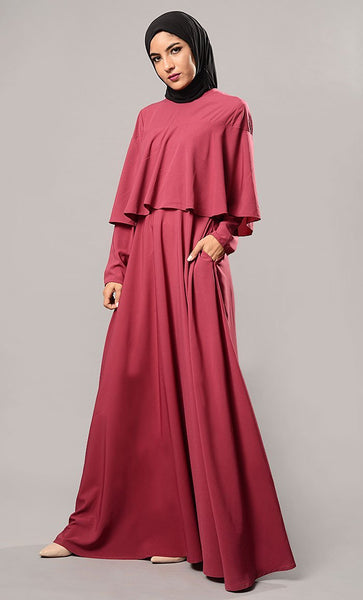 Double Layered Cape Style Arabian Abaya Dress - EastEssence.com
