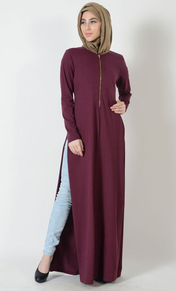 Double Slit Zipper-Jersey Long Tunic - EastEssence.com