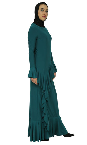 Dramatic Ruffled And Modest Wear Abaya Dress - EastEssence.com
