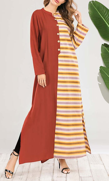 Dual Printed Tunic dress-Red - *Size Up* - EastEssence.com