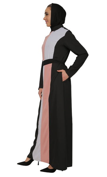 Dual Tone Color Block Pattern Abaya Dress - EastEssence.com
