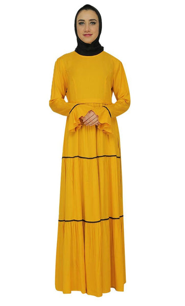 Dual Tone Trims Multitiered Abaya Dress - EastEssence.com