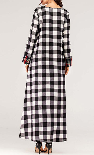 Duo Check Printed Abaya - Black - *Size Up* - EastEssence.com